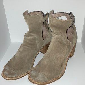 OFFICINE Renanais mid-heel Open toe leather bootie